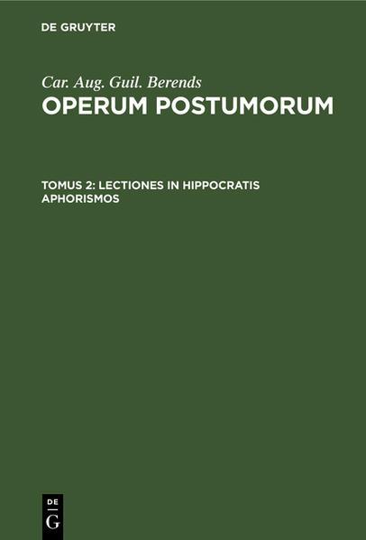 Lectiones in Hippocratis aphorismos - Coverbild