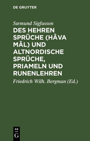 Des Hehren Sprüche (Hâva mâl) und altnordische Sprüche, Priameln und Rãunenlehren - Coverbild
