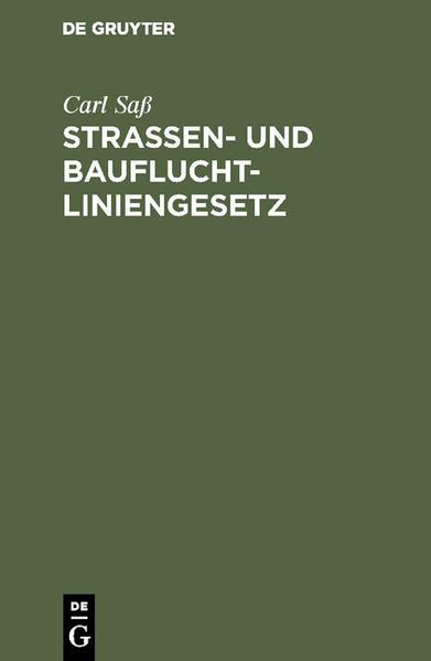 Strassen- und Baufluchtliniengesetz - Coverbild