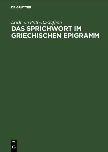Das Sprichwort im griechischen Epigramm - Coverbild