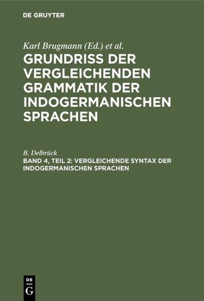 Vergleichende Syntax der indogermanischen Sprachen. Theil 2 - Coverbild