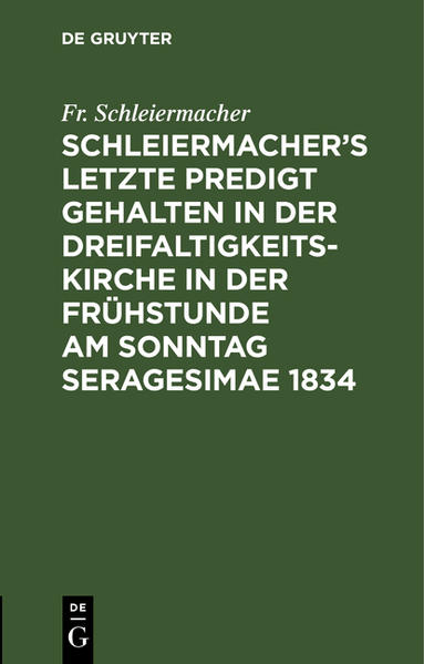 Schleiermacher's letzte Predigt - Coverbild