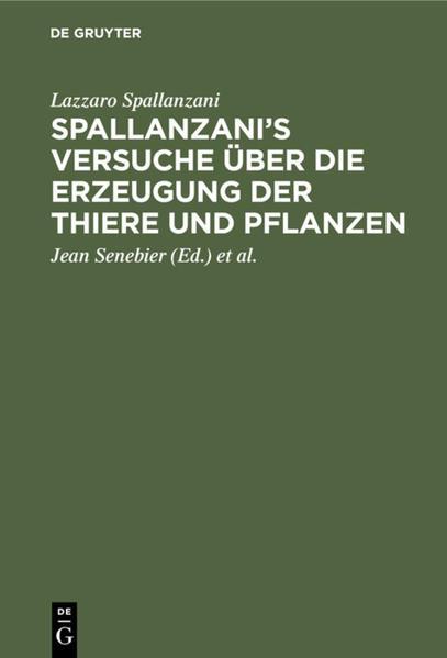 Spallanzani's Versuche über die Erzeugung der Thiere und Pflanzen - Coverbild