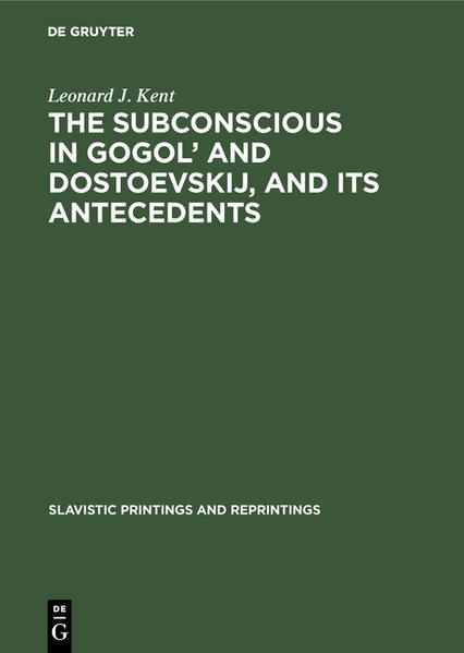 The subconscious in Gogol and Dostoevskij, and its antecedents - Coverbild