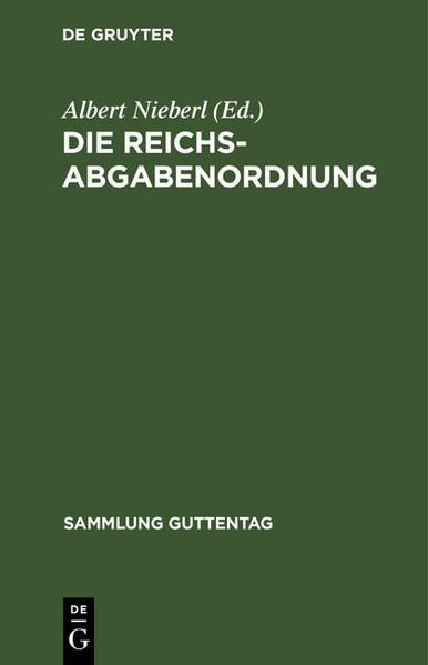 Die Reichsabgabenordnung - Coverbild