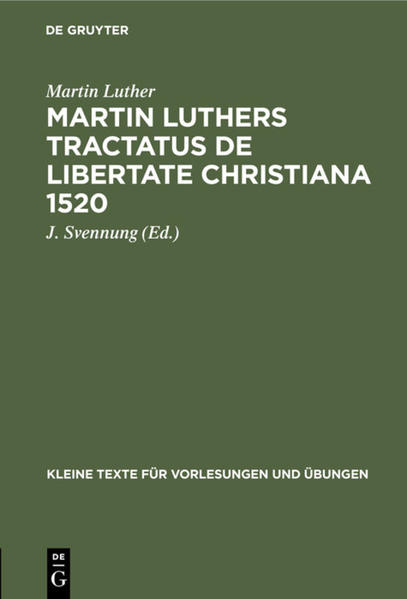 Martin Luthers Tractatus de Libertate Christiana 1520 - Coverbild