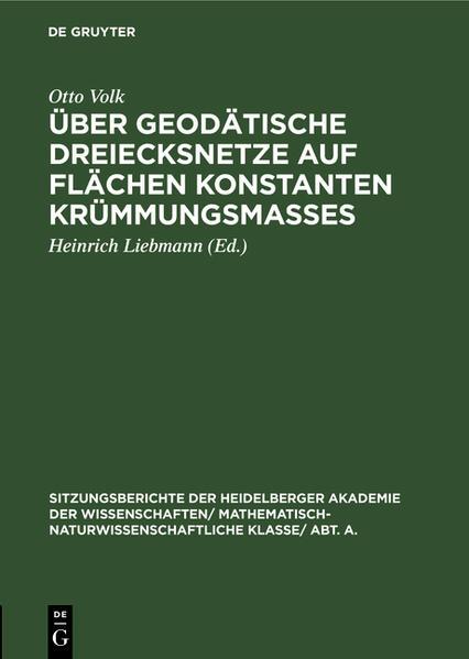 Über geodätische Dreiecksnetze auf Flächen konstanten Krümmungsmaßes - Coverbild