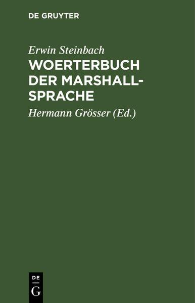 Woerterbuch der Marshall-Sprache ... - Coverbild