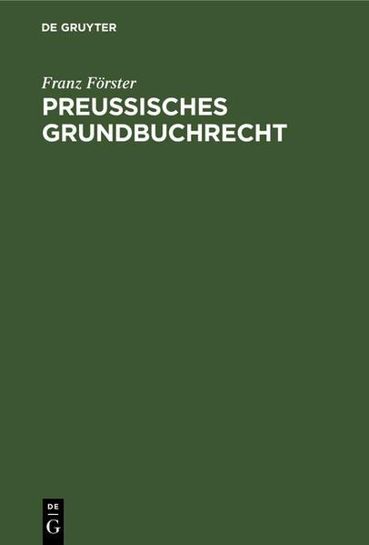 Preußisches Grundbuchrecht - Coverbild