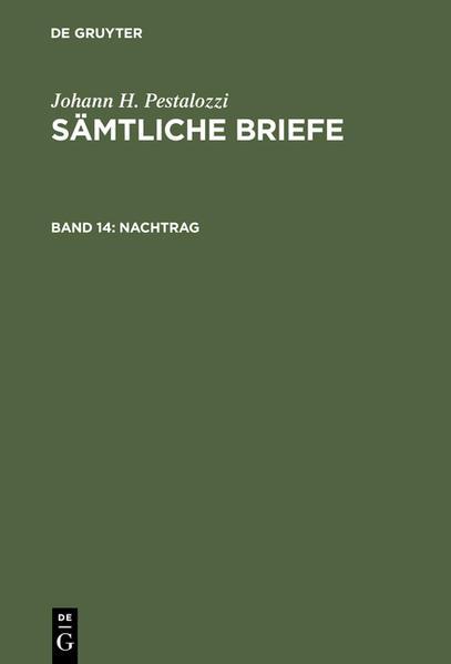 Johann H. Pestalozzi: Sämtliche Briefe / Nachtrag - Coverbild
