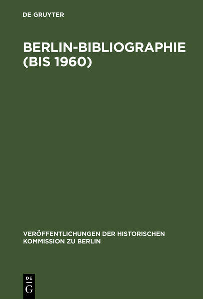 Berlin-Bibliographie bis 1960 - Coverbild
