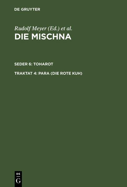 Die Mischna. Toharot / Para (Die rote Kuh) - Coverbild