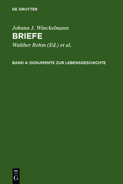 Johann J. Winckelmann: Briefe / Dokumente zur Lebensgeschichte - Coverbild
