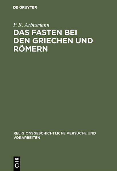 Das Fasten bei den Griechen und Römern - Coverbild