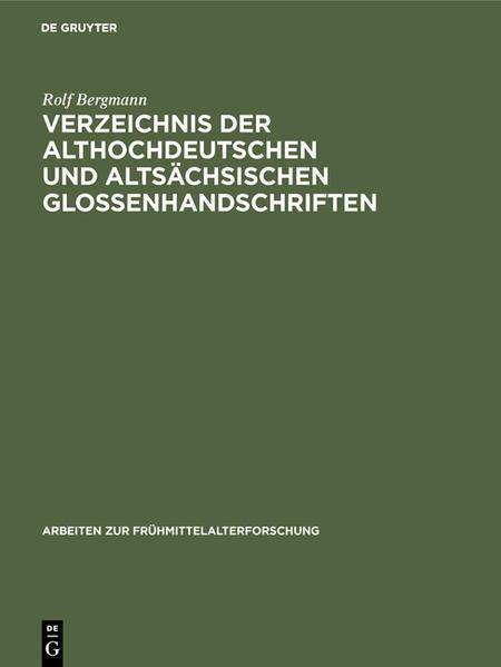 Verzeichnis der althochdeutschen und altsächsischen Glossenhandschriften - Coverbild