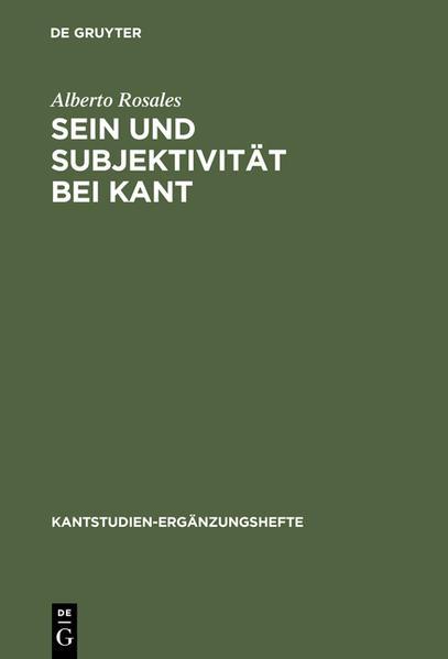Sein und Subjektivität bei Kant - Coverbild