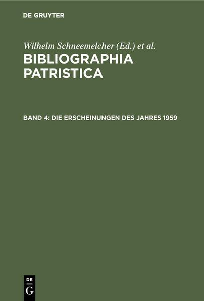 Bibliographia Patristica / Die Erscheinungen des Jahres 1959 - Coverbild