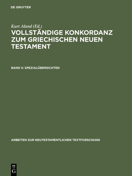 Vollständige Konkordanz zum griechischen Neuen Testament / Spezialübersichten - Coverbild