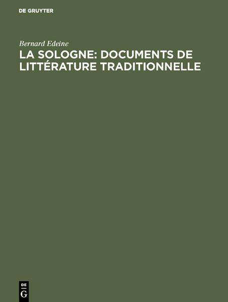 La Sologne: documents de littérature traditionnelle - Coverbild