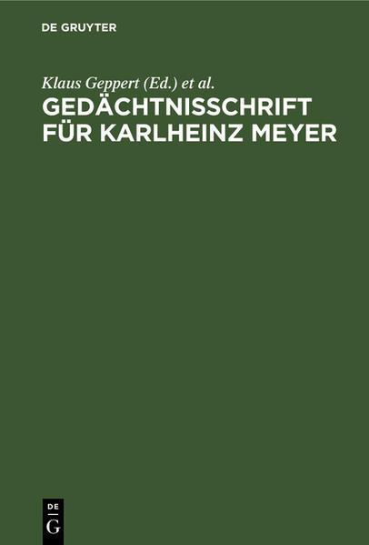 Gedächtnisschrift für Karlheinz Meyer - Coverbild