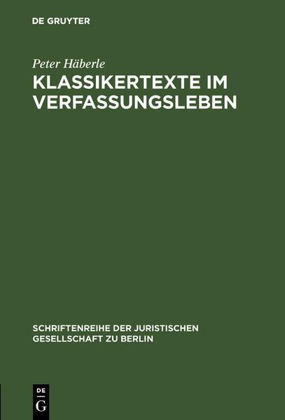 Klassikertexte im Verfassungsleben - Coverbild