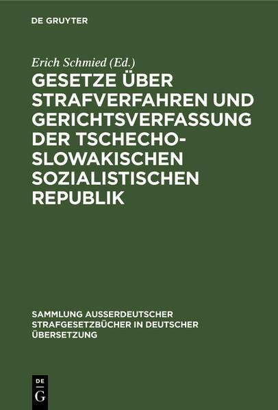 Gesetze über Strafverfahren und Gerichtsverfassung der Tschechoslowakischen Sozialistischen Republik - Coverbild