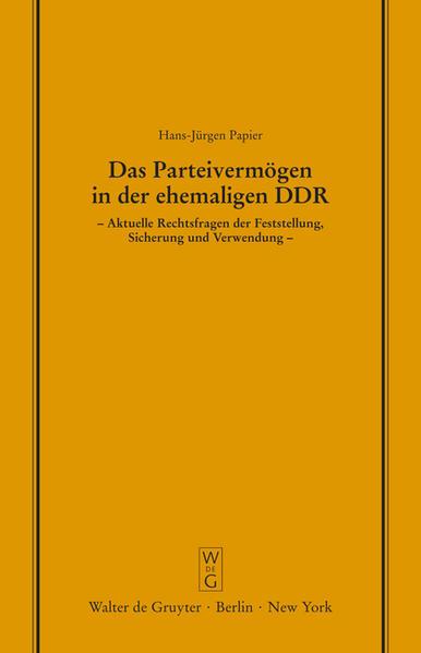Das Parteivermögen in der ehemaligen DDR - Coverbild