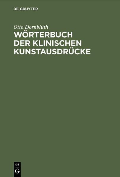 Wörterbuch der Klinischen Kunstausdrücke  - Coverbild