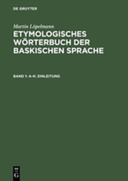 Etymologisches Wörterbuch der baskischen Sprache - Coverbild