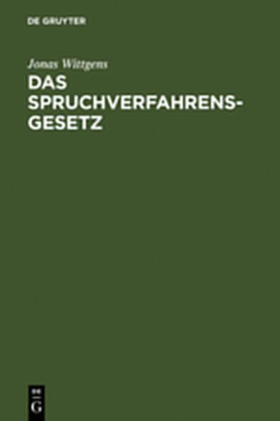Das Spruchverfahrensgesetz - Coverbild