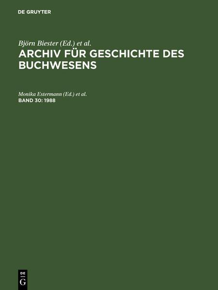Archiv für Geschichte des Buchwesens / 1988 - Coverbild