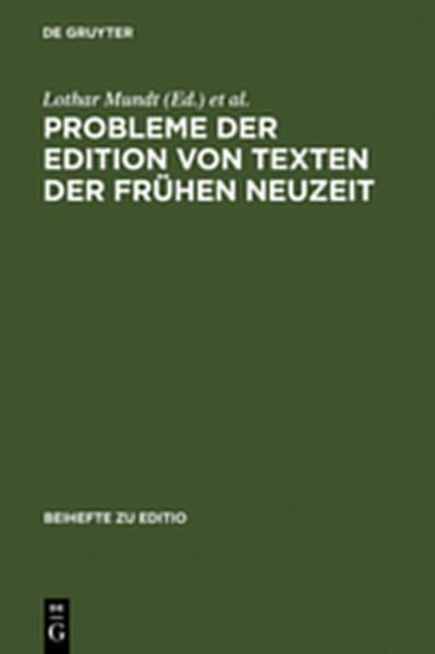 Probleme der Edition von Texten der frühen Neuzeit - Coverbild