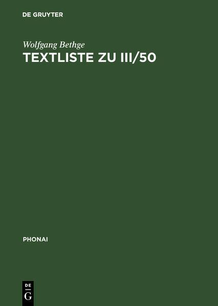 Textliste zu III/50 - Coverbild
