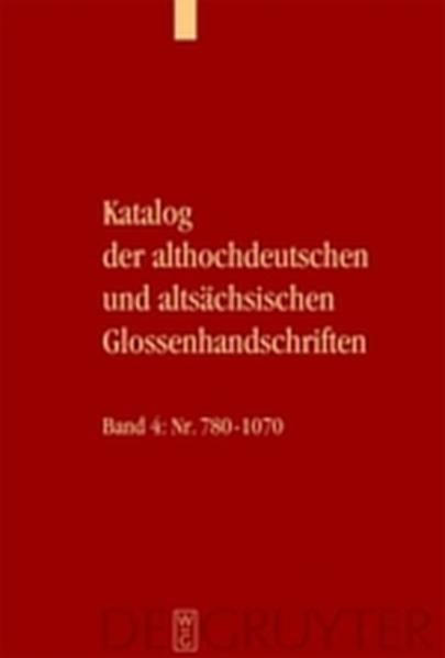 Katalog der althochdeutschen und altsächsischen Glossenhandschriften - Coverbild