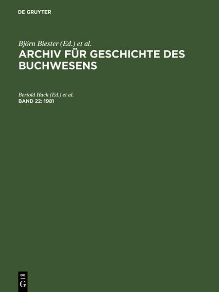 Archiv für Geschichte des Buchwesens / 1981 - Coverbild