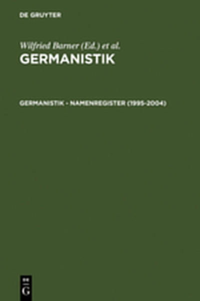Germanistik / Germanistik – Namenregister (1995-2004) - Coverbild