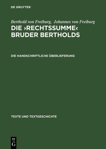 Die 'Rechtssumme' Bruder Bertholds - Coverbild
