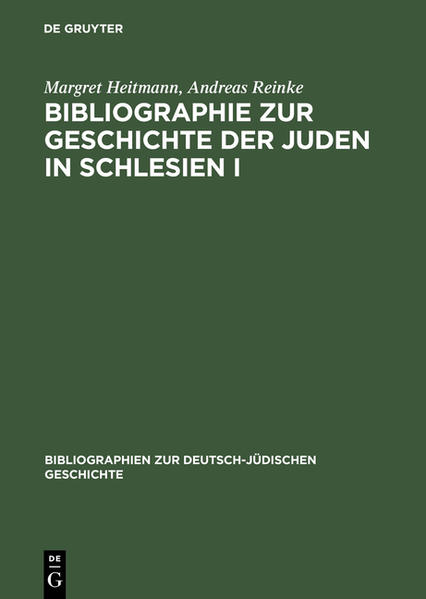 Bibliographie zur Geschichte der Juden in Schlesien I - Coverbild