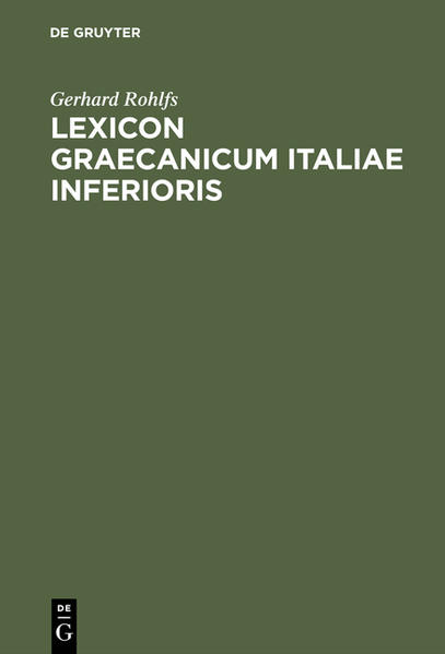 Lexicon Graecanicum Italiae Inferioris - Coverbild