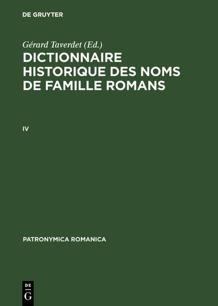 Dictionnaire historique des noms de famille romans (IV) - Coverbild