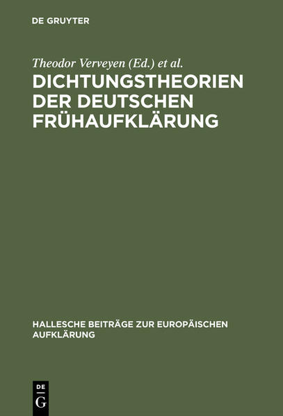 Dichtungstheorien der deutschen Frühaufklärung - Coverbild