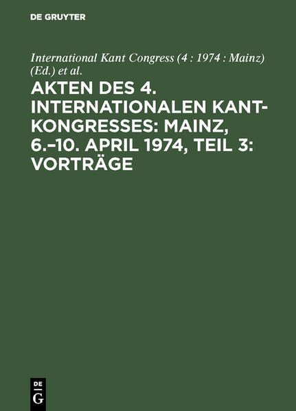 KANT-KONGRESS 1974 TL 3     VORTRAEGE - Coverbild