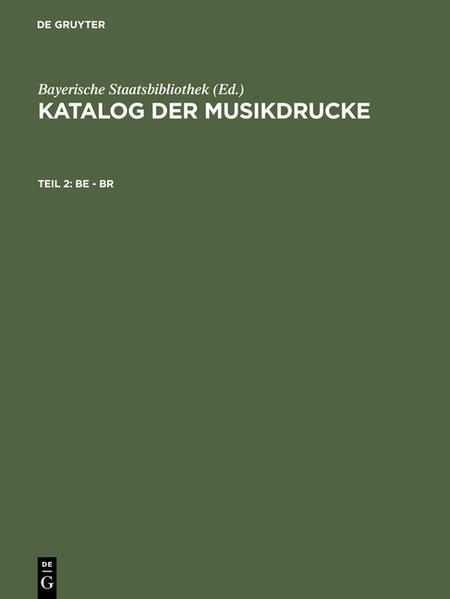 Katalog der Musikdrucke / Be - Br - Coverbild
