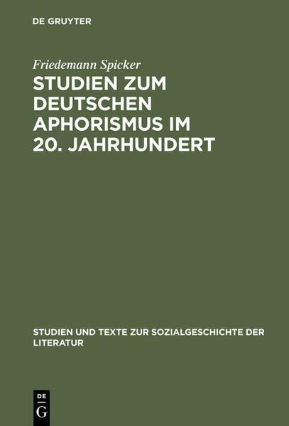 Studien zum deutschen Aphorismus im 20. Jahrhundert - Coverbild