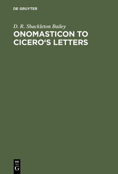 Onomasticon to Cicero's Letters - Coverbild