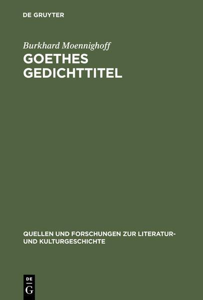 Goethes Gedichttitel - Coverbild