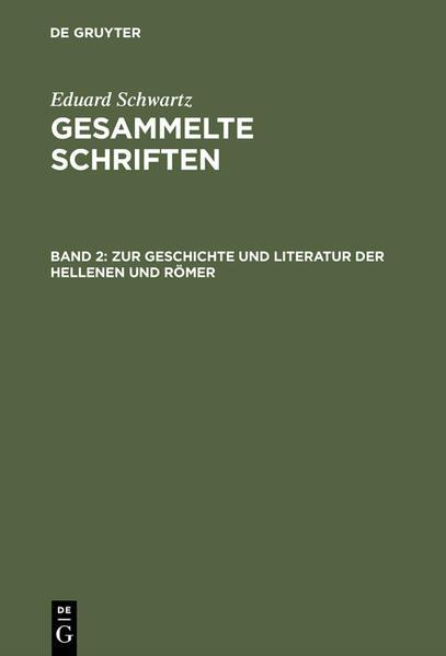 Gesammelte Schriften / Zur Geschichte und Literatur der Hellenen und Römer - Coverbild