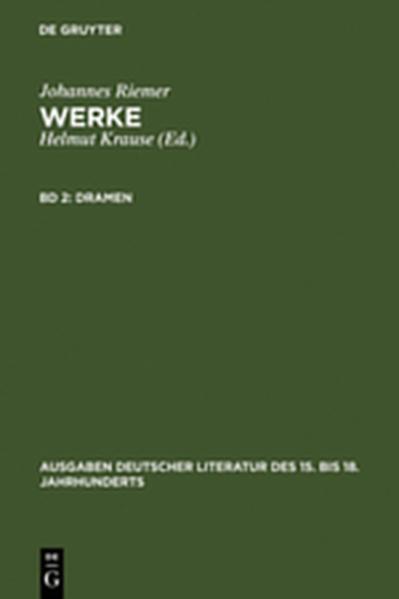 Johannes Riemer: Werke / Dramen - Coverbild