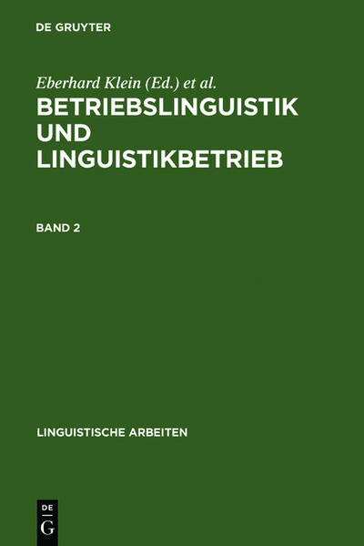 Betriebslinguistik und Linguistikbetrieb - Coverbild