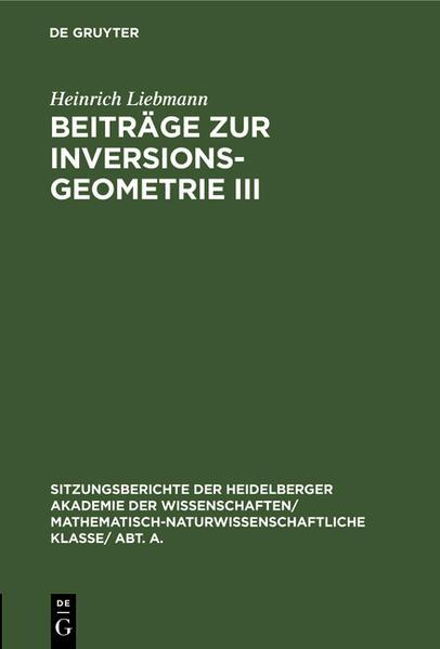 Beiträge zur Inversionsgeometrie III - Coverbild